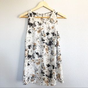 Ann Taylor White Tan & Gray Floral Design Top M